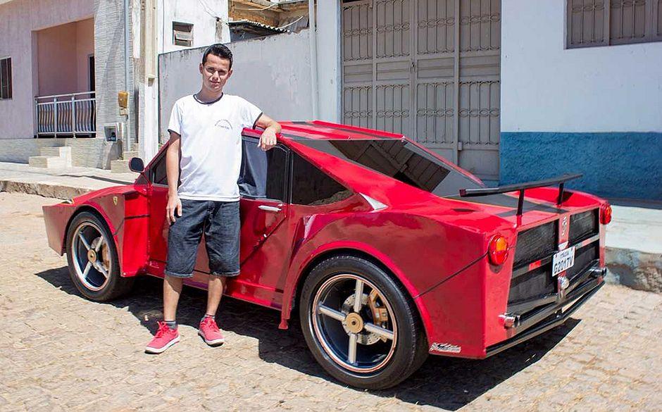 """Ferrari """"Brasileira"""" é construída por auxiliar de cabeleireiro na Bahia"""
